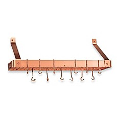 image of Copper Bookshelf Pot Rack