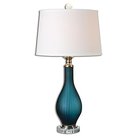 Uttermost Shavano Table Lamp In Midnight Blue With Linen