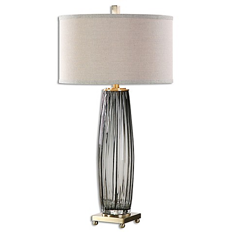 Uttermost Vilminore Table Lamp In Charcoal Grey With Beige