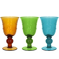 image of The Zrike Company Renaissance Pressed Glass Goblet (Set of 4)