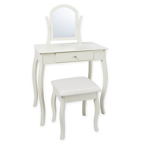 white metal vanity set. image of Traditional Vanity Set in Ivory Sets  Benches Bed Bath Beyond