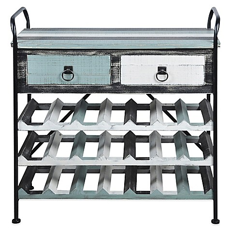 Bayside Weathered Wood Wine Rack In Blue White Bed Bath