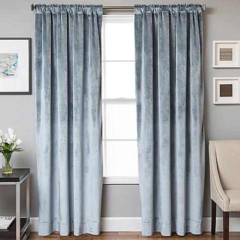 Buy Velvet Rod Pocket Back Tab 95 Inch Lined Window Curtain Panel In Mist From Bed Bath Beyond