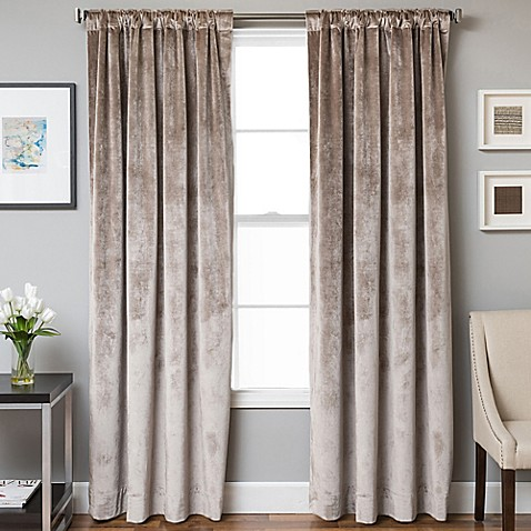 Buy Velvet Rod Pocket Back Tab 63 Inch Lined Window Curtain Panel In Walnut From Bed Bath Beyond