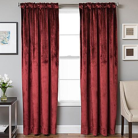 Velvet Rod Pocket Back Tab Lined Window Curtain Panel