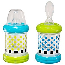 image of Sassy® 2-Pack 4 oz. Baby Food Nurser Bottles in Green/Blue