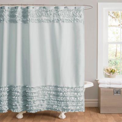 grey ruffle shower curtain | Bed Bath & Beyond