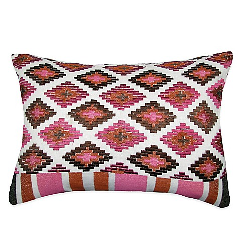 Medley Embroidered Oblong Throw Pillow in Brown - Bed Bath & Beyond
