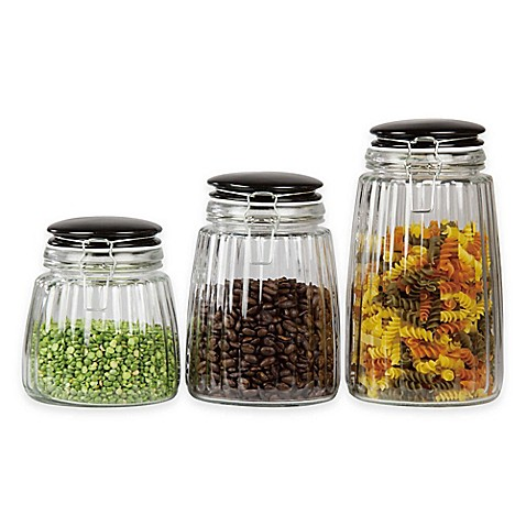 Home basics glass canisters with ceramic lid set of 3 for Bathroom containers with lids