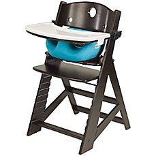 image of Keekaroo® Height Right High Chair Espresso with Aqua Infant Insert and Tray