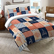 image of Laural Home® Coastal Duvet Cover in Coral/Navy