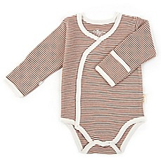 image of Tadpoles™ by Sleeping Partners Organic Cotton Long Sleeve Kimono Striped Bodysuit in Cocoa