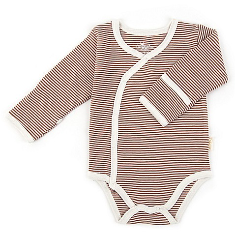 Tadpoles™ by Sleeping Partners Organic Cotton Long Sleeve Kimono Striped Bodysuit in Cocoa