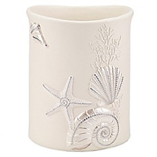 image of Avanti Sequin Shell Wastebasket in Ivory