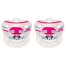 image of NUK® Disney® Minnie Mouse 2-Pack Orthodontic Pacifiers in White/Pink