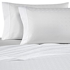 image of Bellino Fine Linens® Viennese Netting Jacquard Cotton Flat Sheet in White