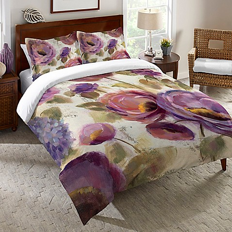 Laural Home Reg Blue Purple Flower Song Queen Duvet Cover