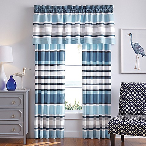 Cabana Stripe Window Curtain Panel Pair And Valance In