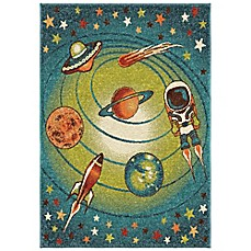 image of Aria Rugs Kids Court Galaxy Rug in Blue