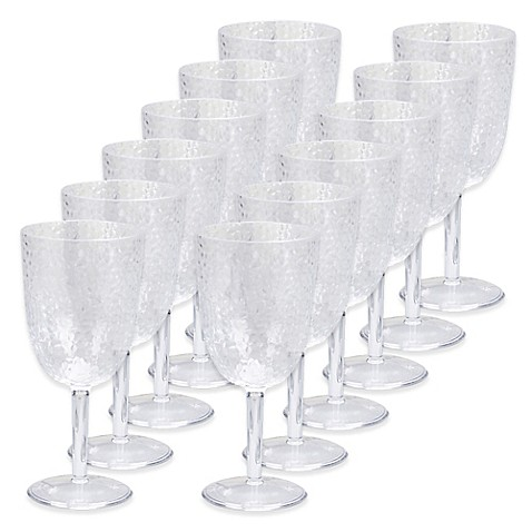 Certified International Hammered Acrylic Goblets In Clear
