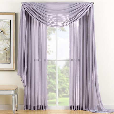 Reverie Sheer Window Curtain Panel And Scarf Valance Bed