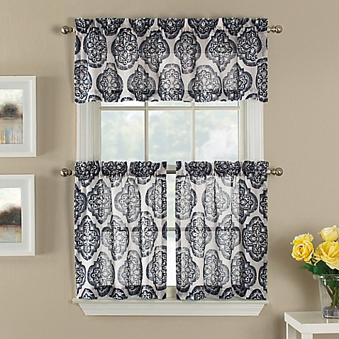 castil semi sheer window curtain tier pair and valance. Black Bedroom Furniture Sets. Home Design Ideas