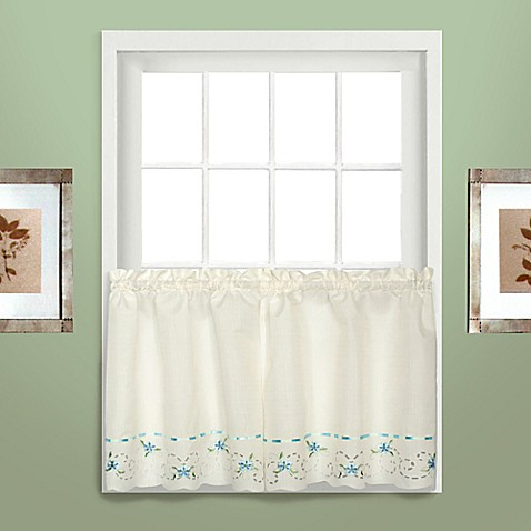 Buy rachael 36 inch window curtain tier pair in blue from bed bath beyond for 36 inch bathroom window curtains