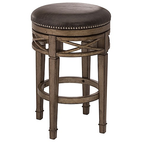 Hillsdale Chesterfield Wood Backless Swivel Stool In