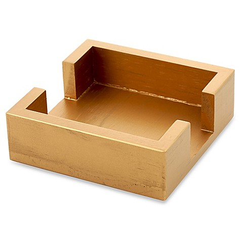 buy thirstystone square wood coaster caddy in metallic gold from bed bath beyond. Black Bedroom Furniture Sets. Home Design Ideas