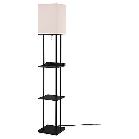 Equip your space etagere floor lamp with charging station for Etagere floor lamp bed bath and beyond