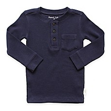image of Planet Cotton® Crew Neck Long Sleeve Thermal Henley T-Shirt with Pocket in Navy