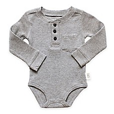 image of Planet Cotton® Crew Neck Long Sleeve Henley Thermal Bodysuit in in Grey