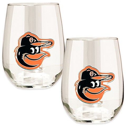 Buy mlb baltimore orioles stemless wine glass set of 2 for Baltimore glassware decorators