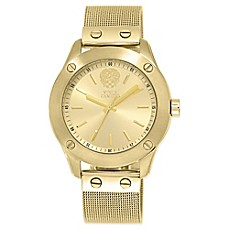 image of Vince Camuto® Ladies' 42mm Nailhead Bezel Watch in Goldtone Stainless Steel with Mesh Bracelet