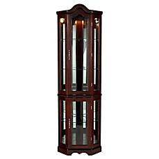 image of Southern Enterprises Lighted Corner Curio Cabinet