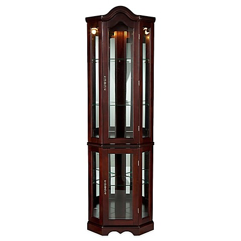 southern enterprises lighted corner curio cabinet bed. Black Bedroom Furniture Sets. Home Design Ideas