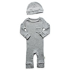 image of Planet Cotton® 2-Piece Cotton Thermal Coverall and Cap Set in Heather Grey