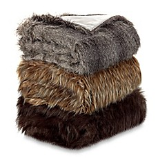 image of Faux Fur Wolf Throw Blanket