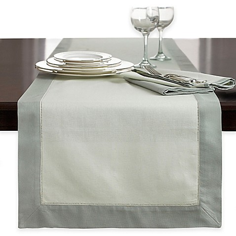 Wamsutta 174 Bordered Linen Table Runner Bed Bath Amp Beyond