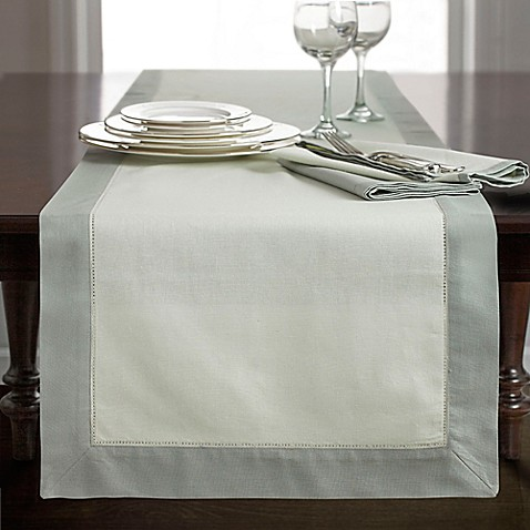 Buy wamsutta bordered linen 90 inch table runner in sage for Table runners 52 inches