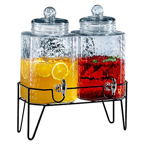 image of style setter hamburg double beverage dispenser set with stand - Drink Dispensers