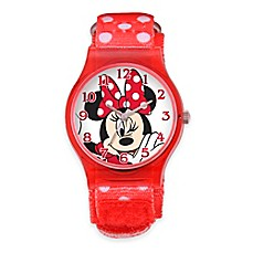 image of Disney® Minnie Mouse Children's 33mm Watch with Red/White Nylon Strap