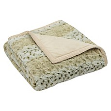 image of Arctic Leopard Faux-Fur Reversible Throw in Tan