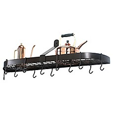image of old dutch wallmount 12hook pot rack in oiled bronze