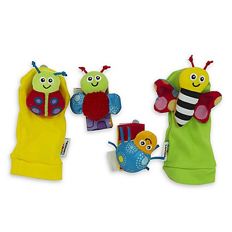 lamaze gardenbug 4 piece foot finder and wrist rattle set. Black Bedroom Furniture Sets. Home Design Ideas