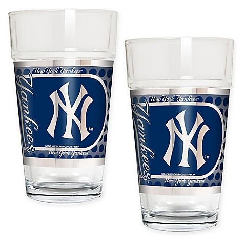 Buy mlb new york yankees metallic pint glass set of 2 for Yankees bathroom decor