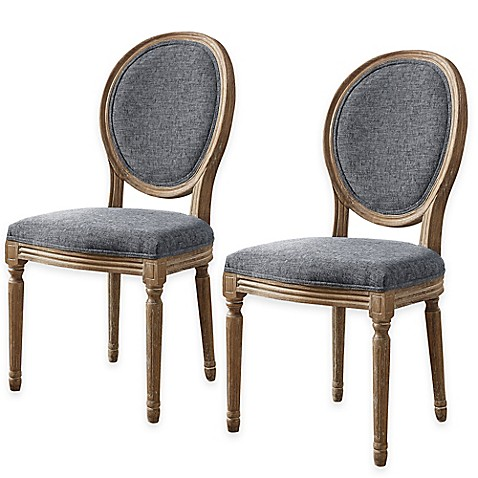 Image Of Shiraz Linen Oval Back Dining Chairs Set 2