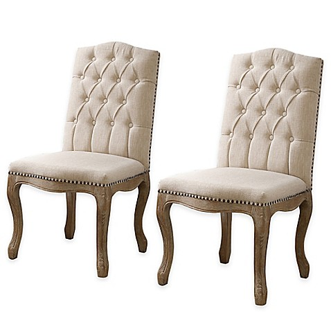 Shiraz linen tufted wood back dining chairs in natural - Natural wood dining chairs ...
