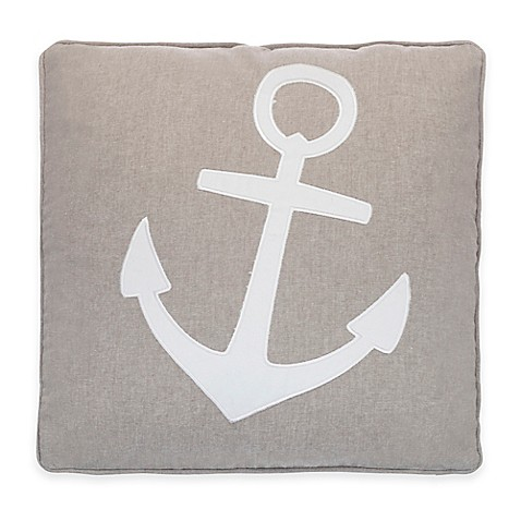 Provincetown Anchor Applique Square Throw Pillow In Grey