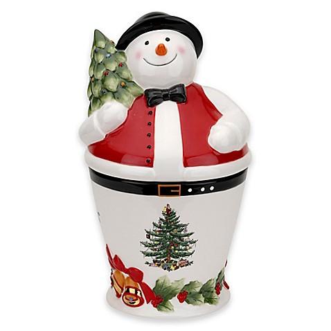 Spode Christmas Tree Mr Snowman Cookie Jar Bed Bath